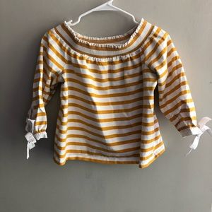 J. Crew Mustard and White Striped Top with Bows S
